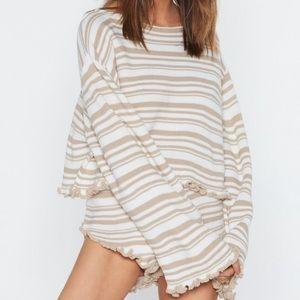 Nasty Gal Striped Beige Loungewear Set
